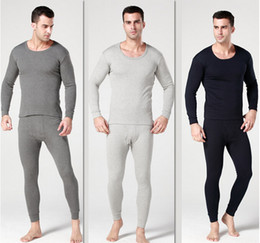 Wholesale Autumn amp Winter Man with thick thermal underwear suits thickening and velvet warm air underwear suits