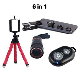 Wholesale-2016 New 6in1 8x Zoom Telephoto Camera Lens Telescope Flexible Mini Tripod Phone 3in1 Lens with Bluetooth Shutter for smartphone