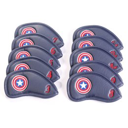 10Pcs Set Captain America Style Thick Synthetic Leather Golf Club Iron Head Covers Set Headcover Blue Red Color Free Shipping