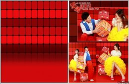 Wholesale Red Checked Wall for Photo Studio X7ft Thin Vinyl Backdrop Wedding Children Family Photography Backgrounds