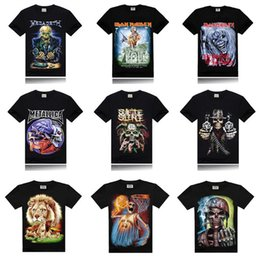 Wholesale 2016 Summer Fashion Metallica Iron Maiden D Printed T Shirt Men Cotton Short Sleeve T shirts Casual O neck Black Tee Shirts Hip Hop Tops
