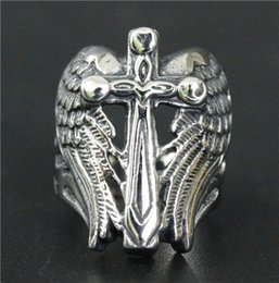 Wholesale Size Mens L Stainless Steel Jewelry Cool Angle Wings Jesus Cross Ring For Real Biker Polishing God Belssing Ring
