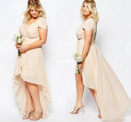Summer High Low Plus Size Beach Wedding Bridesmaid Dresses Short Sleeve Champagne Chiffon 2019 Cheap Maid of Honor Party Gowns Prom Dresses