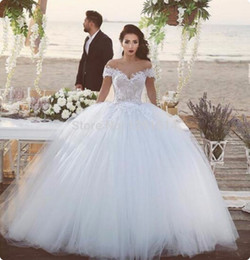 Wholesale Said Mhamad Off the Shoulder Ball Gown Wedding Dresses Princess Illusion Lace Tulle Puffy Tulle Arabian Bride Gown Vestido De Novia