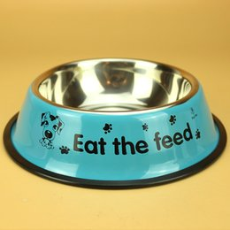 Wholesale High Quality Lovely Pet Bowl Stainless Steel Three Sizes Feeding Dogs Cats Food Water Supplies Bowl Colors Sold Randomly