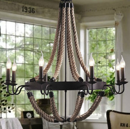 Wholesale American rural countryside rope vintage wrought iron chandelier creative dining room pendant lamp old coffee bar pendant light
