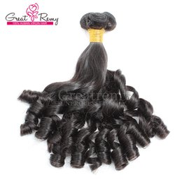Greatremy® 8A Aunty Funmi Hair Extensions Natural Color Brazilian Human Hair weft Spiral Curl Double Drawn Bouncy Curls Hair Weaves