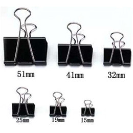 Wholesale 40 pieces Black Metal Binder Clips mm Notes Letter Paper Clip Office Supplies Binding Securing clip Product