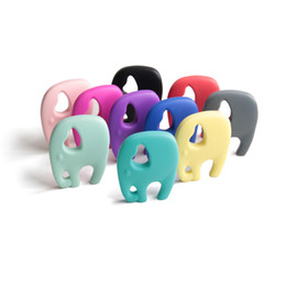Colorful Silicone Baby Teether Toys Cartoon Big Elephant Teething Chew Baby Molar Pendant Necklace BPA Free Food Grade Silicone Toddlers Toy
