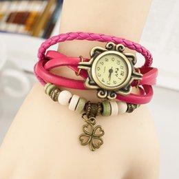 Wholesale Fashion women ladies bracelet DIY watch leather retro four leaf clover pendant wrist quartz dress watches for women