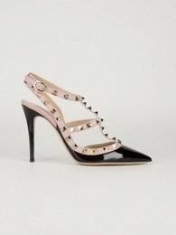 free hongkong post! F806 34 6 color genuine leather v stud heels sandals luxury designer runway celeb fashion women 2016 shoes