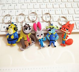 2016 Two Sides Zootopia Figures Keychain Ring Toys Cartoon Animal Judy Nick Peluche Chief Officer Pendant Gifts For Friends Free Shipping