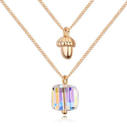 Wedding Jewelry Fashion Accessories For Women Made with Swarovski Elements Crystal Double Chain Necklace Pendants Charm 23069