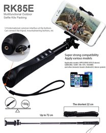 Wholesale RK85 Aluminium Alloy in Foldable Handheld Bluetooth Selfie Stick RK85 E Shutter zoom Bluetooth Monopod Self Timer cell phone camera