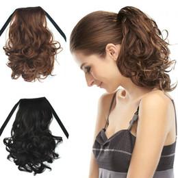 "Wholesale Curly Ponytail Black Hair - Short Ponytails 40CM,16"",Similar Human Hair Drawstring Ribbon Ponytail Curly Wavy Hair Extensions Black Brown Hair Pieces Pony Horse Tails"