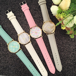 Women's watch 4 colors Leather quartz watch Geometry design Couples watch For Christmas gifts, birthday gifts Free DHL Fedex UPS