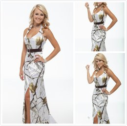 Wholesale White Camo Long Evening Dresses Halter Sleeveless Tree Print Floor Length Camouflage Bridesmaids Dress Special Occasion Events Party Gowns