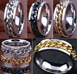 Wholesale 30pcs High Quality Comfort Fit Men s SPIN Chain Stainless steel Rings Jewelry Job