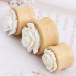 wholesales Ear plug Bamboo White Rose Flower Gauges Ear Piercing mix 8-20mm Plugs tunnels Ear Stretcher Expander Earrings