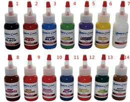 Wholesale - Tattoo Ink Kit Of 14 Colors Tattoo Ink 0.5OZ 15ml Pigment White(60ml) Free Shipping