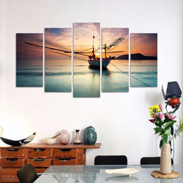 Wholesale Sun Painting Modern Art - Modern Fashion green sea 5pcs set decoration sun boat seascape wall art pictures landscape Canvas Painting living room unframed