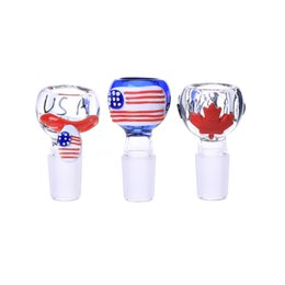 Wholesale Soulton Glass mm Glass Bowl National Flag Heady Pipes Glass Bowls Colorful mm Glass Bowl For Bongs BW