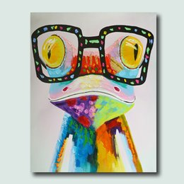 Wholesale High Skills Artist Hand painted Frog Oil Painting On Cavas With Frame Handmade Abstract Painting For Office Decoration