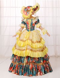 yellow lace printing flower ball gown with hat Medieval Renaissance Gown queen cos Victorian dress  Antoinette  Belle ball