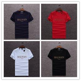 Wholesale Shipping Summer Balmain Pairs Men s Basic Logo Print T Shirt Gold BALMAIN PAIRS Typography Printed Tee Shirt Worldwide size M XL