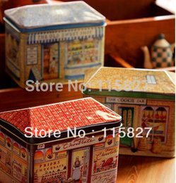 Wholesale sweet shop cookie jar iron case metal box storage container candy case