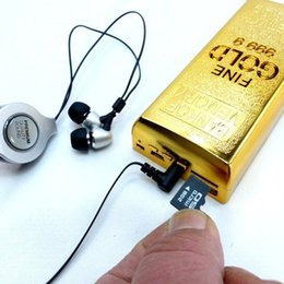 Wholesale Gold Bullion USB Gold Bar MP3 Player Amazing Speaker Gold Bar style USB Rechargeable TF card USB Aux in MP3 Player Stereo Multimedia Speaker