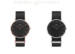 Wholesale New luxury watch Black Dial Men s watch Daniel Wellington watch imported nylon strap watch movement fashion leather DW Watch Wristwatches