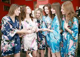 Wholesale Satin Night Gowns For Women - Silk Satin Wedding Bride Bridesmaid Robe Floral Bathrobe Short Kimono Robe Night Robe Bath Robe Fashion Dressing Gown For Women
