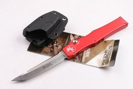 Wholesale Microtech Halo V Tanto Knife quot Satin single action auto Survival gear knives with kydex sheath Red handle