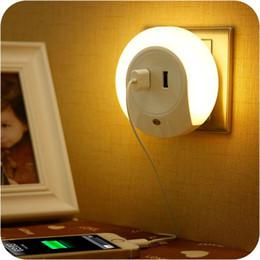 Wholesale Sensor Lighting Bedroom - Multifunctional Creative socket led sensor night light intelligent photoswitchable bedroom bedside lamp with double USB charger