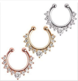 Wholesale 2016 New Hot Fake Septum Clicker Nose Ring Non Piercing Hanger Clip On Jewellery fei