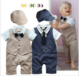 2016 Infant Boy Gentleman Style Rompers Toddler Short Sleeve Summer Jumpsuits With Hat Kids Boys Waistcoat Romper Baby Clothing One-Piece