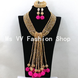 2019 Exclusive African beads fushia gold Wedding Costume Jewelry Set 6 rows Chunky African Statement Necklace Set Free Ship