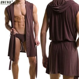 Wholesale Sexy Men s Underwear Plus Size Slippers Sleeveless Silky Pajamas Nightgown Robes Bathrobe Hooded Tracksuit Home Sleepwear