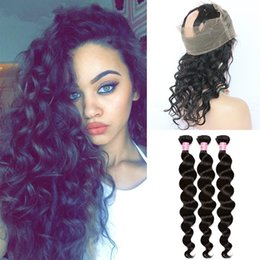 Wholesale Brazilian Hair Loose Wave Lace Frontal Closure With Bundles Loose Curly Human Hair With Lace Band Frontal