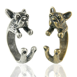 Enhanced French Bulldog Adjustable Animal Wrap Ring 1Piece Vintage Silver Gold opened finger ring for men and women