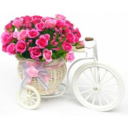Wholesale Big Wheel Round Flower Basket Simulation Rattan Floats Flower Vase Flowerpots Containers Small Photography Props bike flower pot