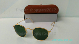 Excellent Quality Round Metal Sunglasses Eyewear Golden frame Glass Lenses In Mens Womens Glasses With Brown Case And Box