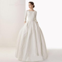 Wholesale The antique wedding dress train beads lace long sleeve canoe church satin dress the bride custom size