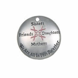 New Zinc Alloy Engraved Ribbon Sisters Friends Daughters Mothers We Are In This Together Message Charms Easy to diy for you