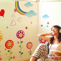 Wholesale Children s room nursery school classrooms are arranged sunflowers cartoon decorative wall stickers rainbow stickers AY857