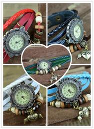 Wholesale Ladies Leather Charms Wrist Watches Women Quartz Wristwatches Pendants Sweet Hearted Wing Shaped Vine Bracelet Watches