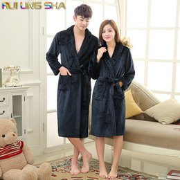 Wholesale-Navy Coral Peignoir Homme Unisex Solid Long Sleeve Flannel Fleece Sleep Lounge Pink Robes Albornoz Hombre Bathrobe Men Bath Robe