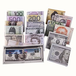 Wholesale 2016 New Various countries Paper money wallet Fashion creative personality Women Men USD Dollar GBP Pound EURO Pattern Wallets PU Purse