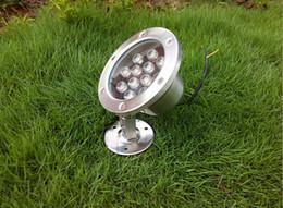 High Power 9W LED Underwater Spot Light Bulbs IP68 12V 110V 220V Fountain Pond Floodlight Lamp 9x1W CE ROSH 2 Years Warranty 10pcs lot DHL